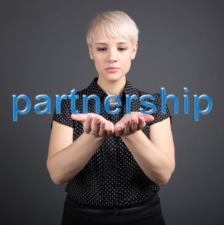 Partnership business concept - woman and word Stock Photo - 17394902