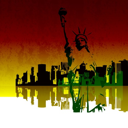 Illustration of New York Skyline with the Statue of Liberty Vector