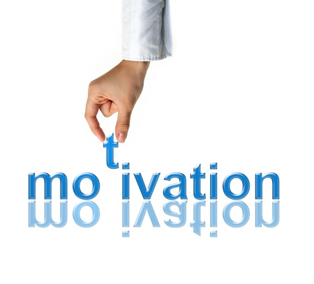 Hand with motivation word - business concept Stock Photo - 17671099