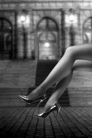 Woman's Legs Wearing Pantyhose and High Heels in fron of opera house Stock Photo - 17671094