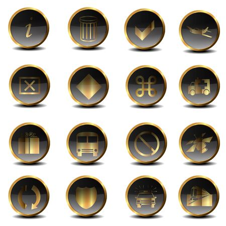 Set of golden icons Stock Photo - 17671101