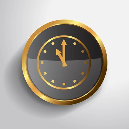 Golden clock button in 3D photo