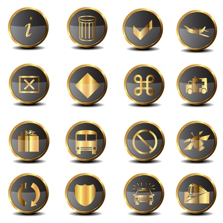 Set of golden icons Stock Vector - 17664427