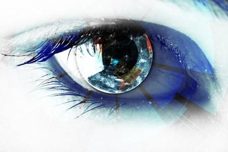 La tecnologia negli occhi - concetto di tecnologia Archivio Fotografico - 17664426