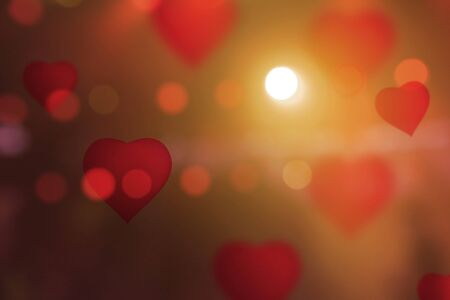 pretty s shiny: Hearts Color Bokeh on abstract red background