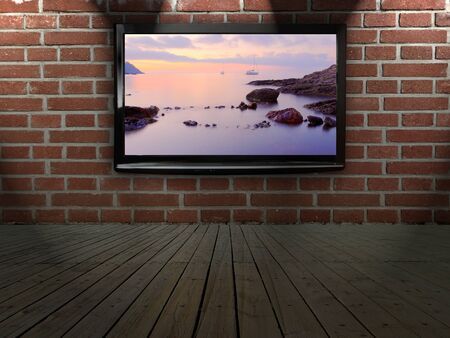 hd tv: Plasma TV on the wall with possitive picture Stock Photo