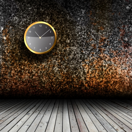 Modern Clock on the textured wall inside the room Stock Photo - 18110620