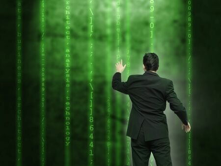 Businessman analysing source code - technology concept photo
