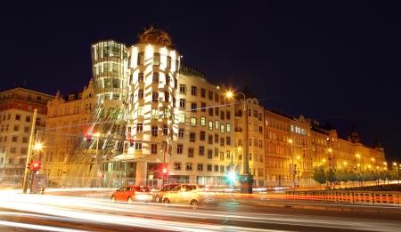 Famous dancing house building in Prague, Czech Republic, Europe
