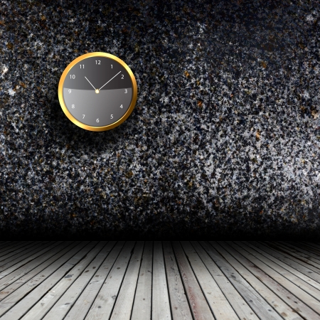 Modern Clock on the textured wall inside the room Stock Photo - 18405305