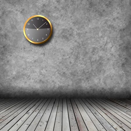 Empty interior with wooden floor, grunge wall and clocks Stock Photo - 18534124