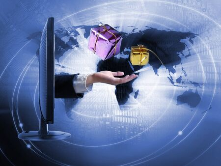 World business concept - buying presents on internet Stock Photo - 18702872