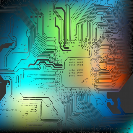 Microchip background - close-up of electronic circuit board with processor Vector
