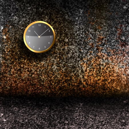 Modern Clock on the textured wall inside the room Stock Photo - 19178671