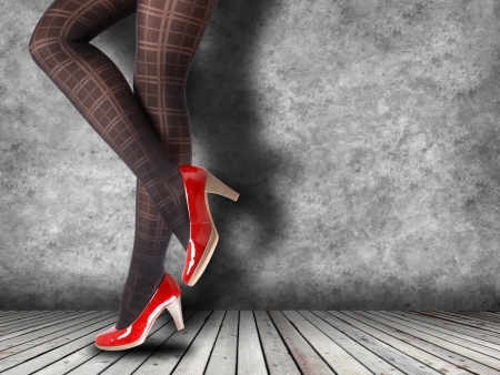Woman's Legs Wearing Pantyhose and High Heels with space for text Stock Photo - 19178546