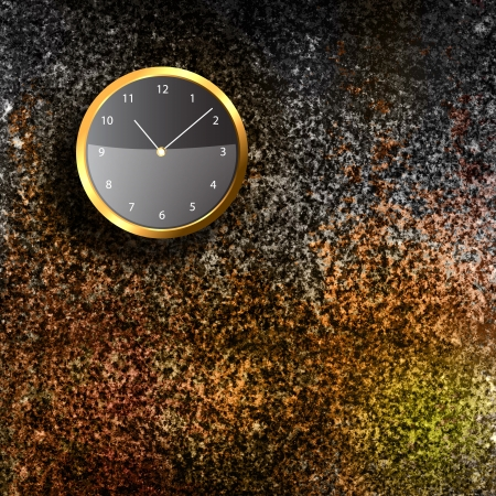 Modern Clock on the textured wall inside the room Stock Photo - 20014215