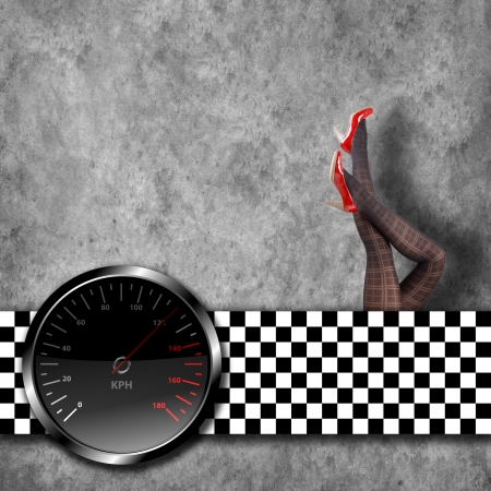 Speedometer background with beauty legs in heels photo