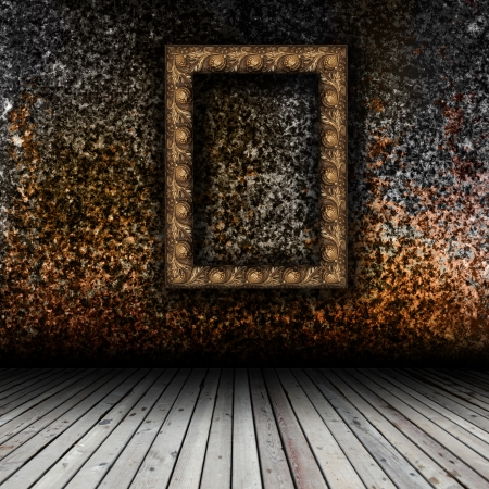 Empty interior with wooden floor and grunge wall Stok Fotoğraf