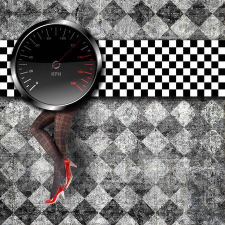Speedometer background with beauty legs in heels photo