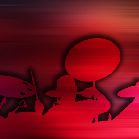 Abstract music concept - Drummer background silhouette photo