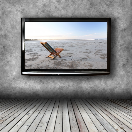 plasma screen: Plasma TV on the wall of the room with wooden floor