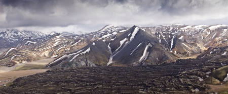 panoramatic: Panoramatic view on Rainbow Mountains in Iceland, Landmannalaugar