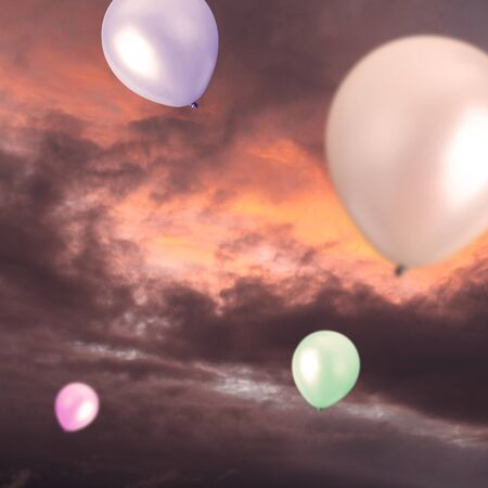 Balloons in the sky - celebration concept photo