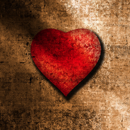 Grunge background with big red heart photo