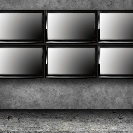 hdtv: Set of modern TVs on the wall