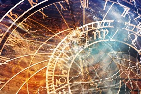 ThePrague 古い町のプラハの天文時計の詳細 写真素材