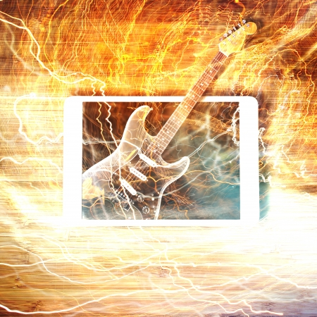 Electric guitar surrounded with the lightnings photo