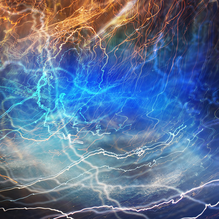 Lightning electricity background concept in blue photo