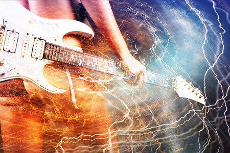 lightnings: Guitar player with white electric guitar surrounded by lightnings