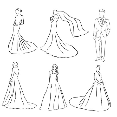 Bride and Groom Wedding Vector Silhouettes Vector