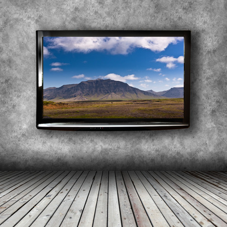 tv panel: Plasma TV on the wall of the room with wooden floor