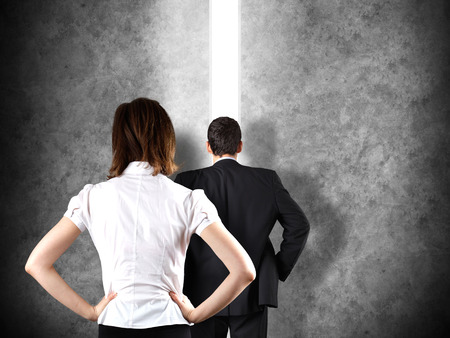 Business leadership concept with a businessman opening a straight path to success