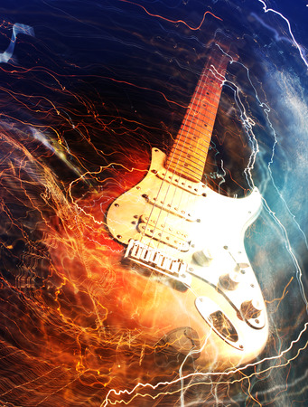 guitar neck: Electric guitar surrounded with the lightnings
