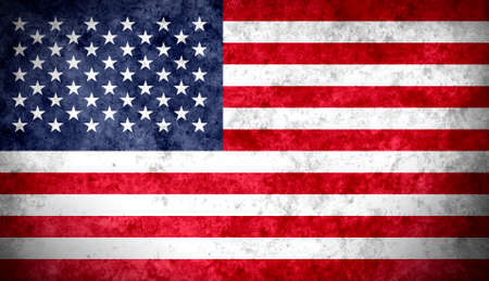 stated: Aged textured and colorful flag of United Stated of America