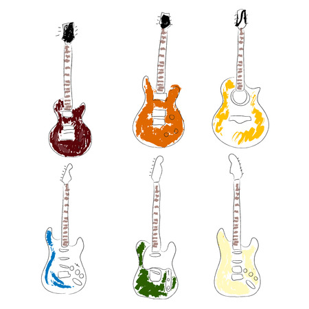 Set of hand drawn guitars vector Vector