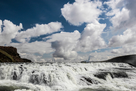 arctic waters: View on big Gullfoss waterfall on Iceland - Hvita river  Stock Photo