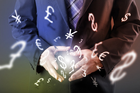 trade: Forex trading concept with hands of businessman Stock Photo