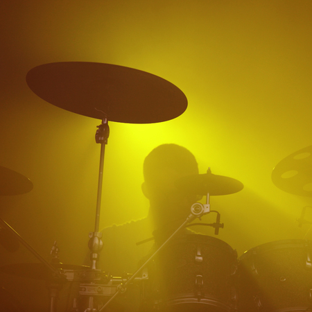 Abstract music concept - Drummer background silhouette Stock Photo