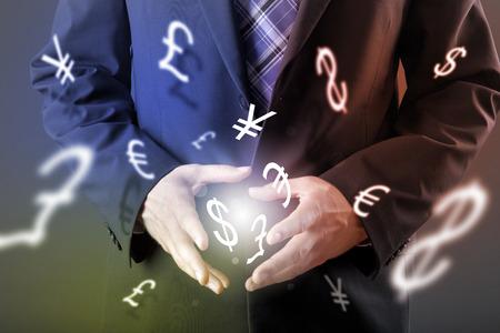사업가의 손으로 외환 거래의 개념