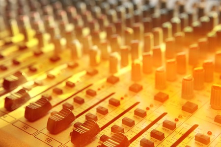 audio mixer: Sound studio record equipment with faders