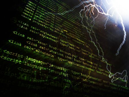 operand: Source code technology background with various colors Stock Photo