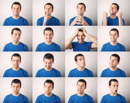 다른 얼굴 표현을 표현하는 젊은 남자의 모자이크