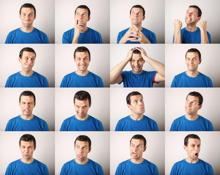facial expression: mosaic of young man expressing different face expressions