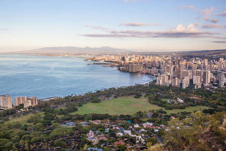 diamond head: View on Waikiki beach and Honolulu in Hawaii from Diamond Head Trail
