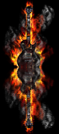 flamboyant: Burning guitar in the water reflection Stock Photo