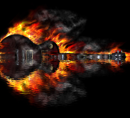 electric guitar: Burning guitar in the water reflection Stock Photo